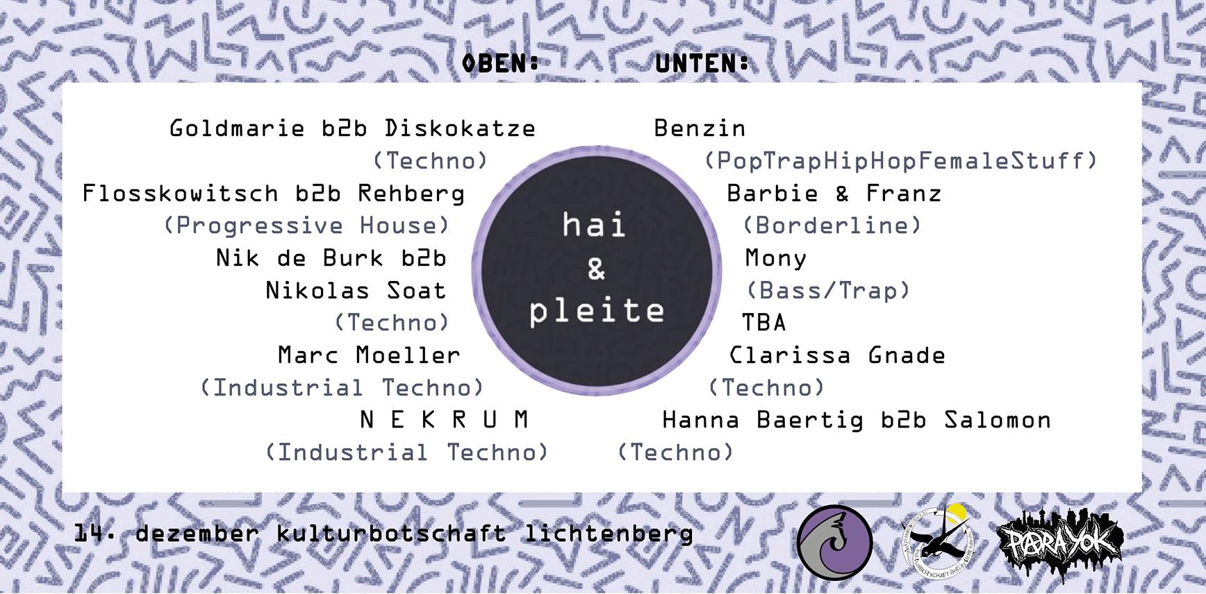 Hai & Pleite Line Up